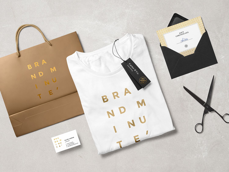Folded Shopping Bag and T-Shirt Fashion Branding Mockup Scene