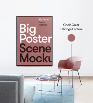Free Big Poster Scene Mockup