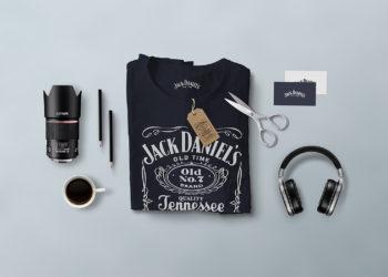 Free Branding T-Shirt Scene Mockup PSD