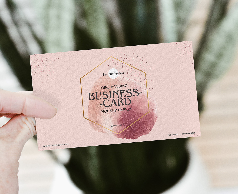 Girl Holding Business Card Free Mockup
