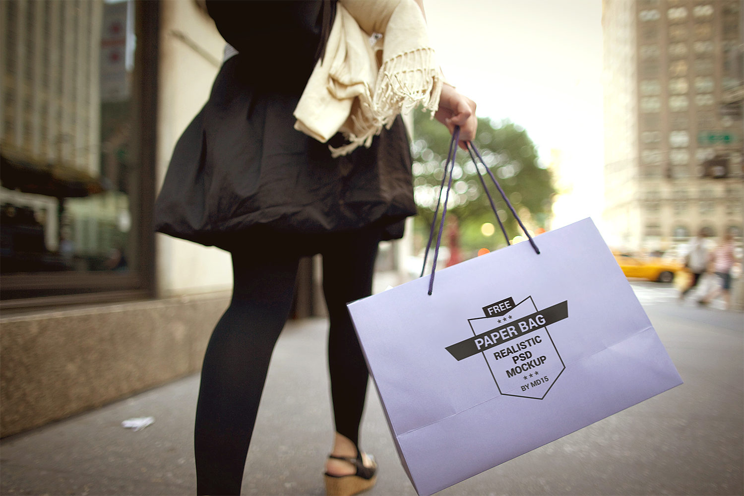Girl Holding Paper Shopping Bag Mockup