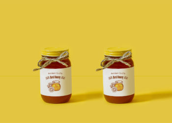 Glass Honey Jar Free Mockup