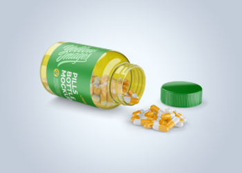 Opened Transparent Bottle with Pills Mockup