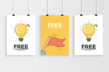 Three Posters Mockup Free PSD Template