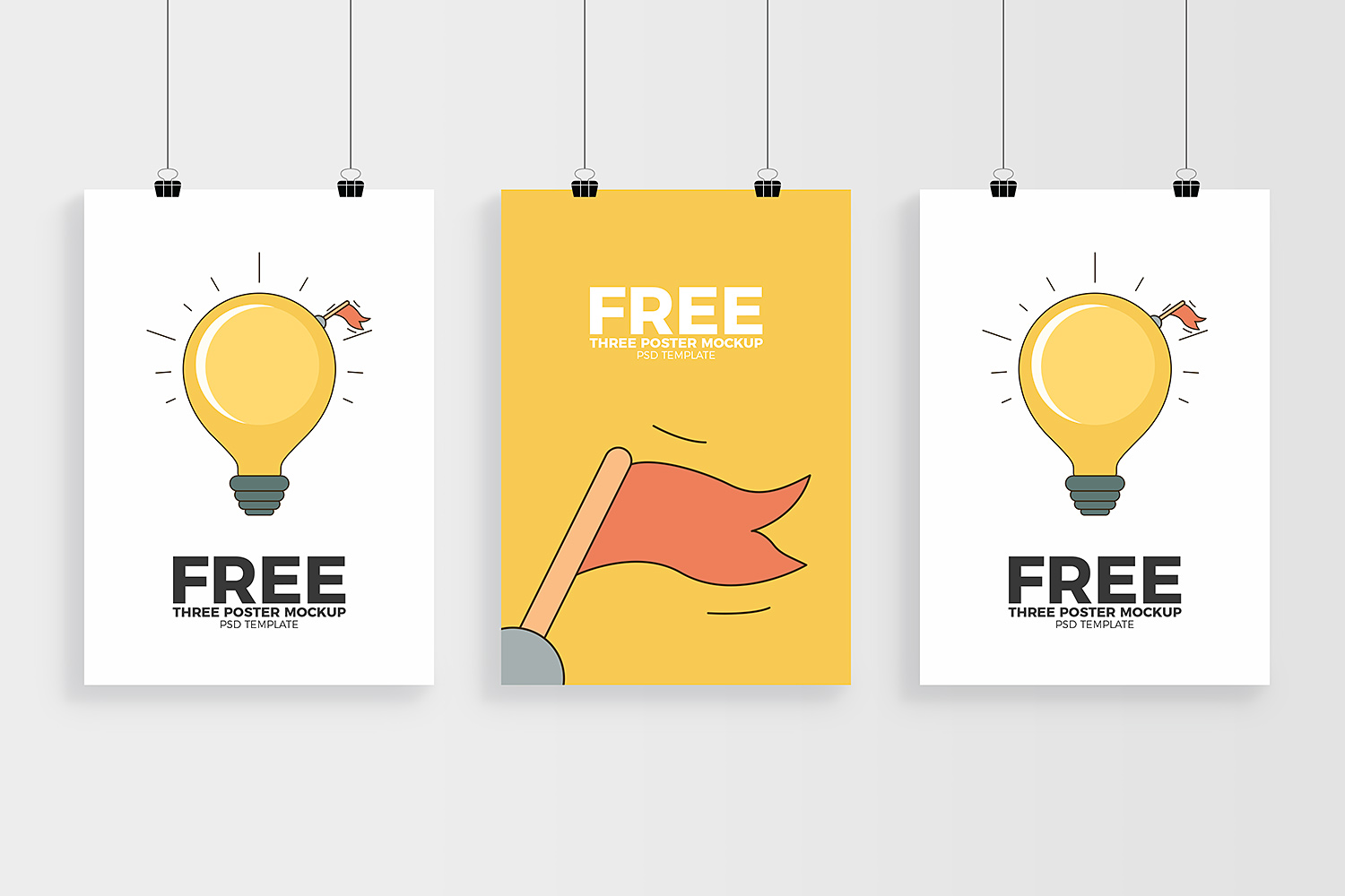 Three Posters Mockup Free PSD Template
