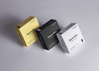 Three Square Boxes Packaging Mockup