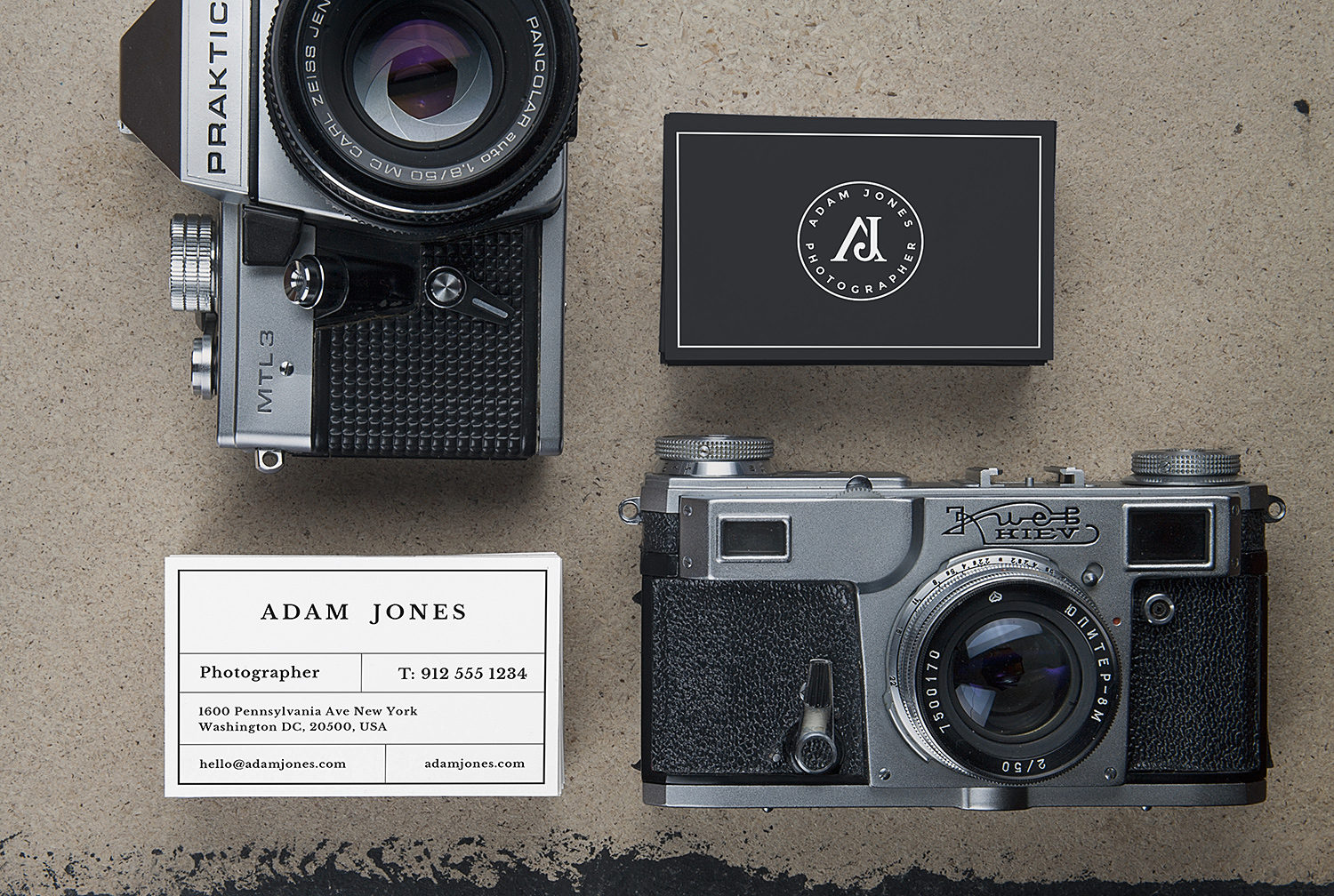 Vintage Cameras and Business Cards Free Mockup