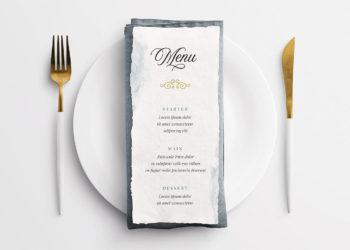 Wedding Menu on Table Setting Free Mockup