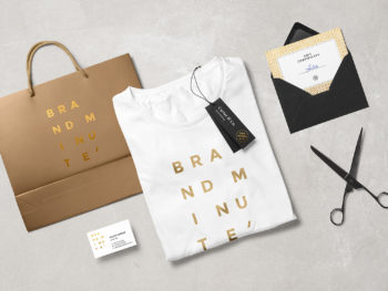Folded Shopping Bag and T-Shirt Fashion Branding Mockup Scene