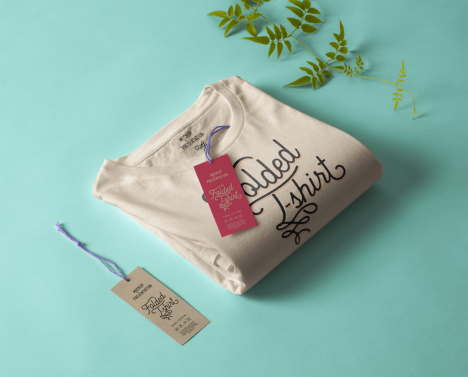 Folded T-Shirt with Label Tag Free Mockup