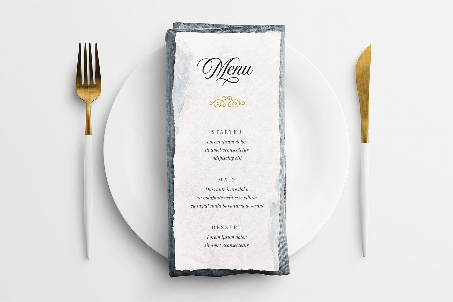 Wedding Menu on Table Setting Free Mockup