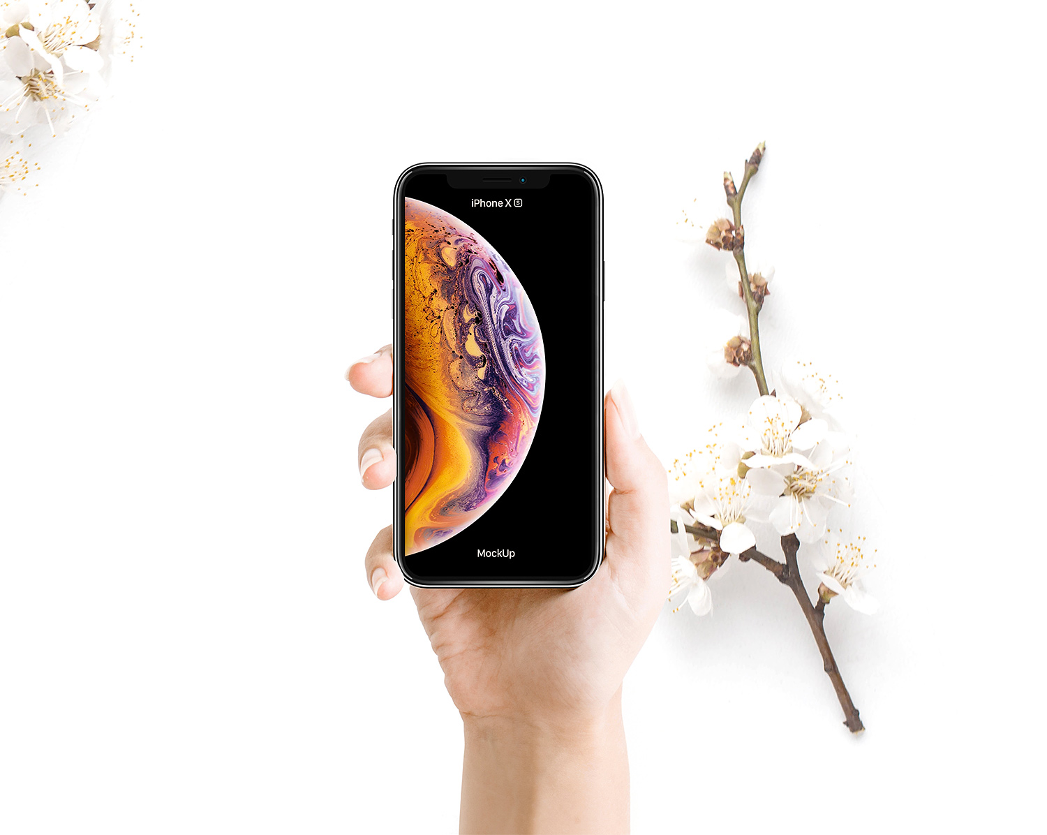 Woman Holding iPhone XS Mockup