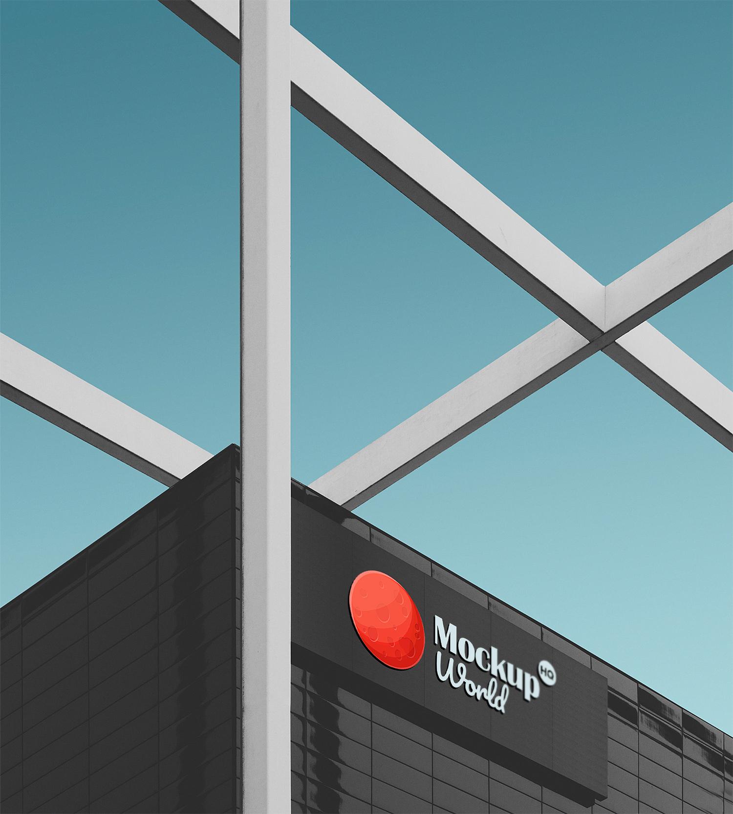 Commercial Office Building Billboard Mockup PSD