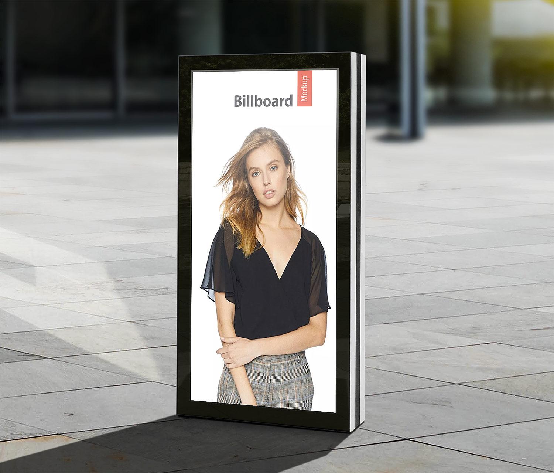 Free City Light Billboard Mockup