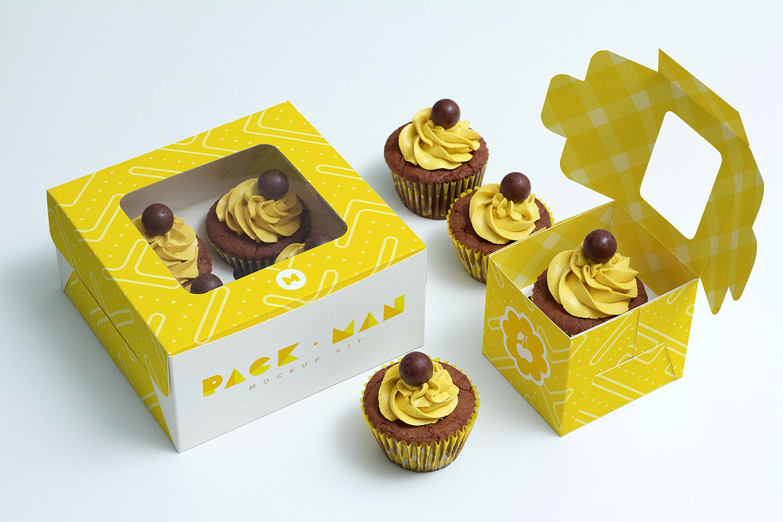 Free Cupcake Boxes Mockup