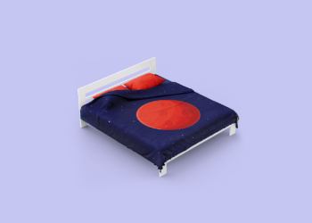 Free Double Bed with Cotton Linens Mockup