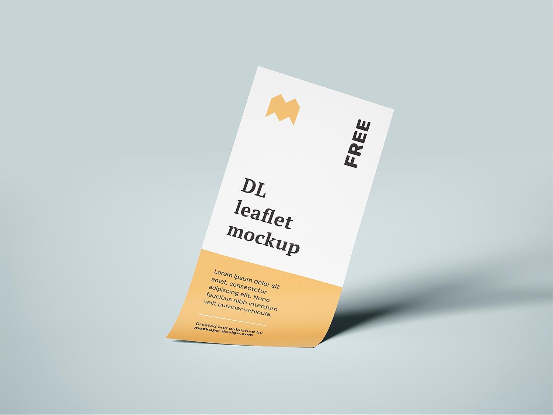Free Flying DL Leaflets Mockup
