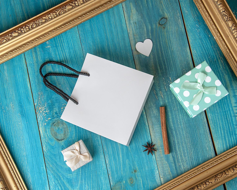 Free Gift Bag Mockup on a Blue Background