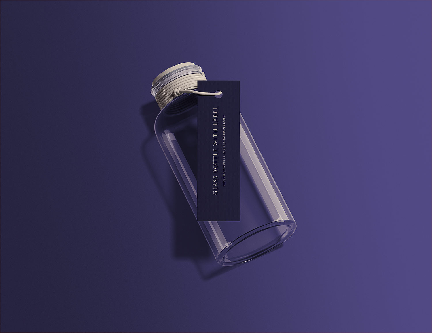 Free Glass Bottle with Tag Mockup