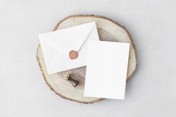 Free Invitation Card & Envelope PSD Mockup
