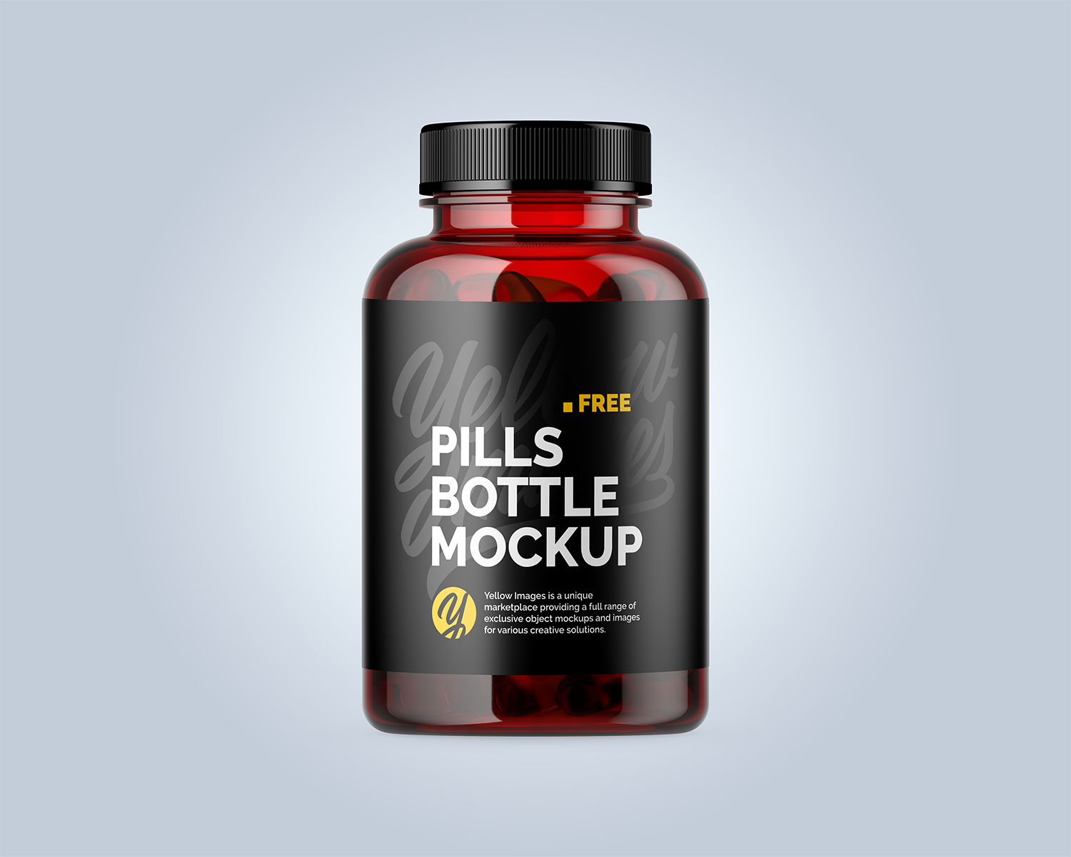 Free Plastic Red Bottle with Fish Oil Mockup