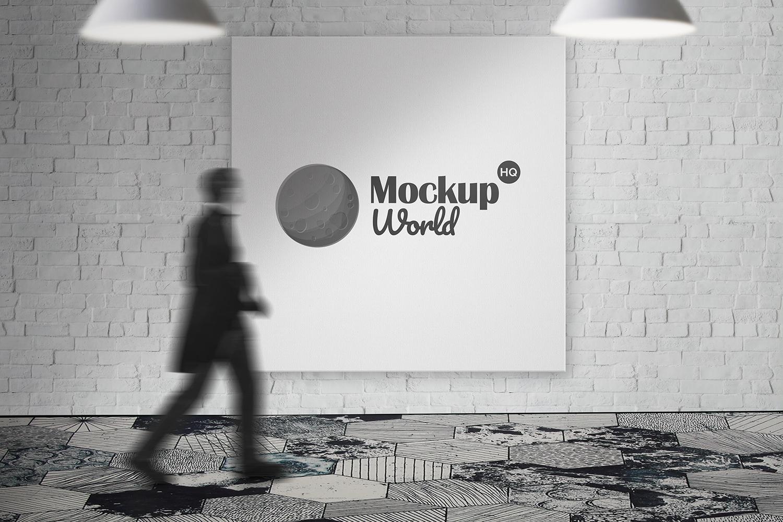 Free Square Billboard Outdoor Mockup