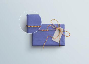 Gift Box & Tag PSD Mockup