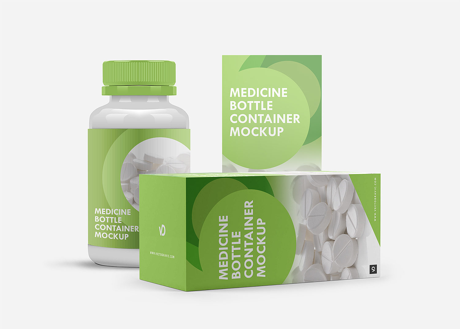 Medicine Bottle Container and Box Mockup