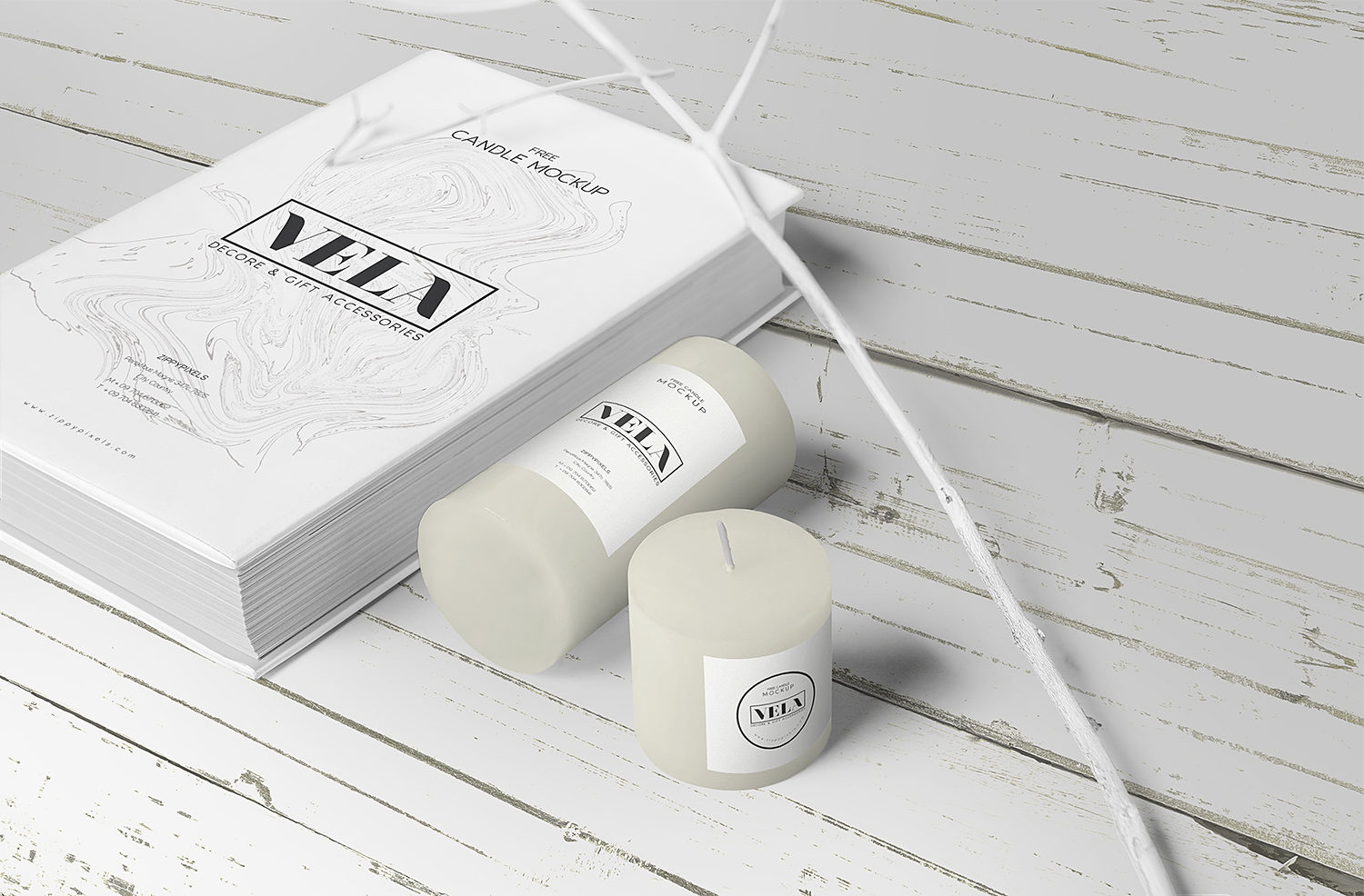 Free Candle Label and Cover Book Mockup