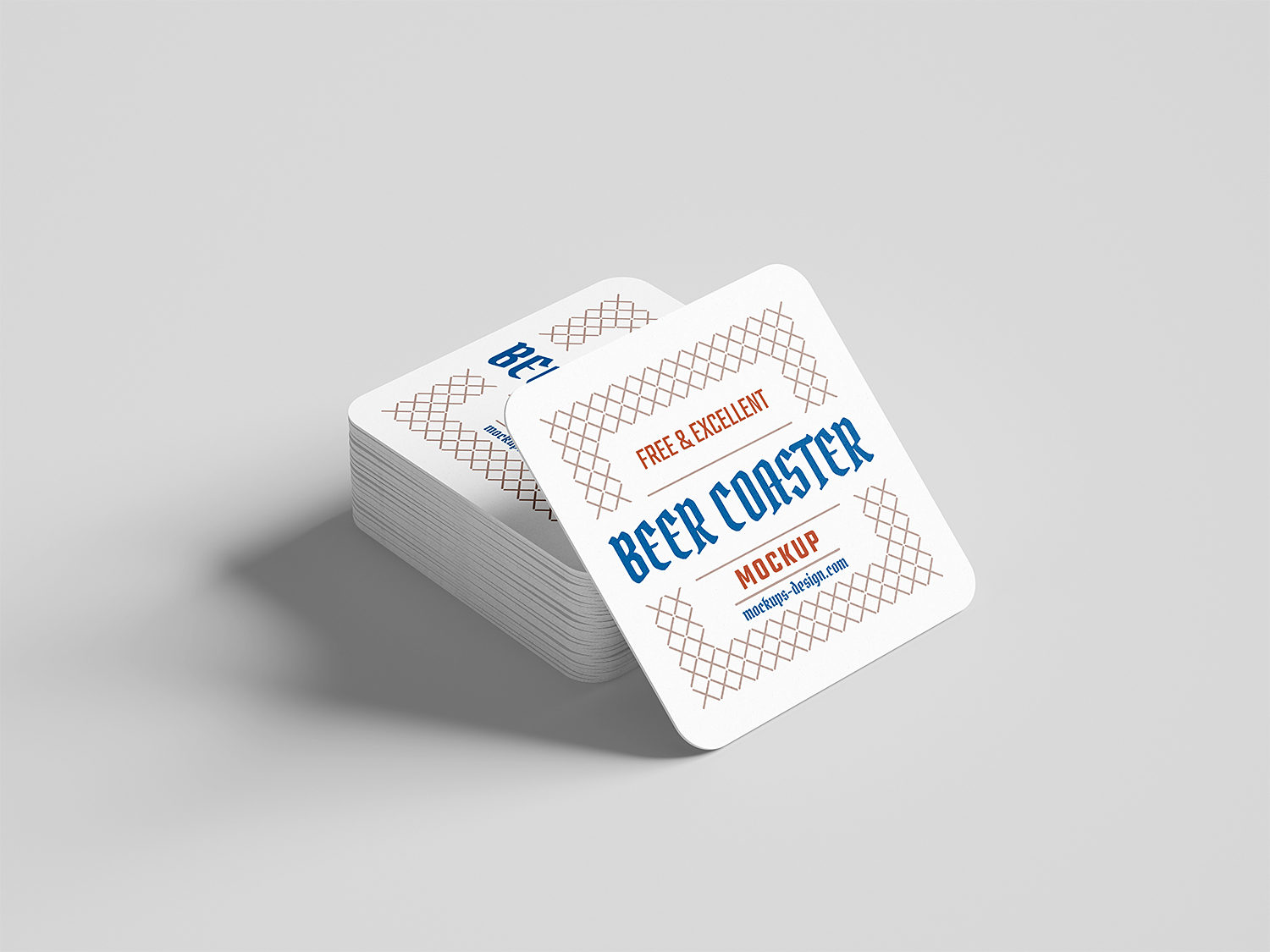 Free Square Beer Coaster Mockup