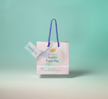 Gravity Shopping Bag with Business Card Mockup