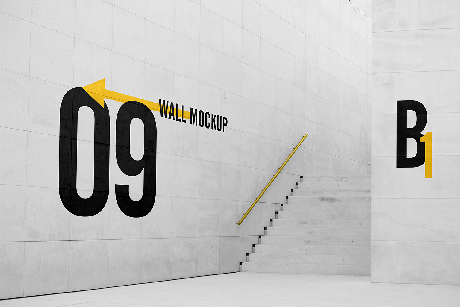 Big White Marble Tiles Wall Mockup