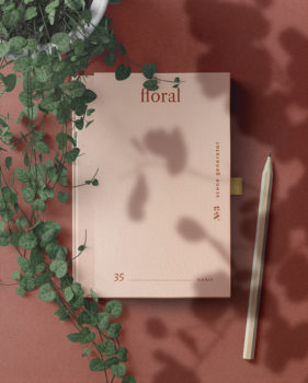 Book with Pencil Floral Mockup Scene