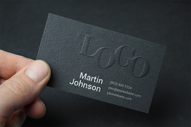 Embossed Business Card Mock-Up