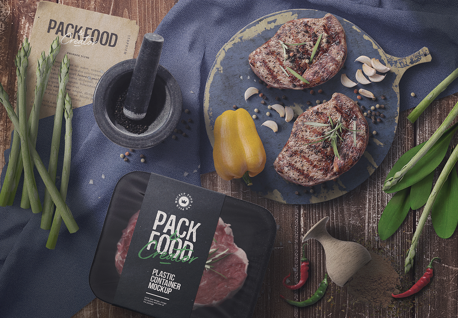 Food Packaging Scene Creator Mockup