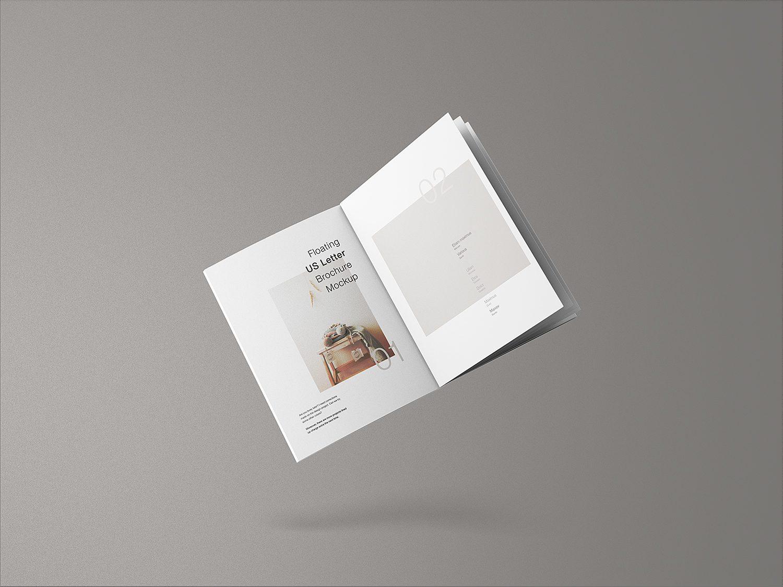 Free Floating US Letter Brochure Mockup