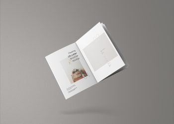 Free Floating US Letter Brochure Mockup