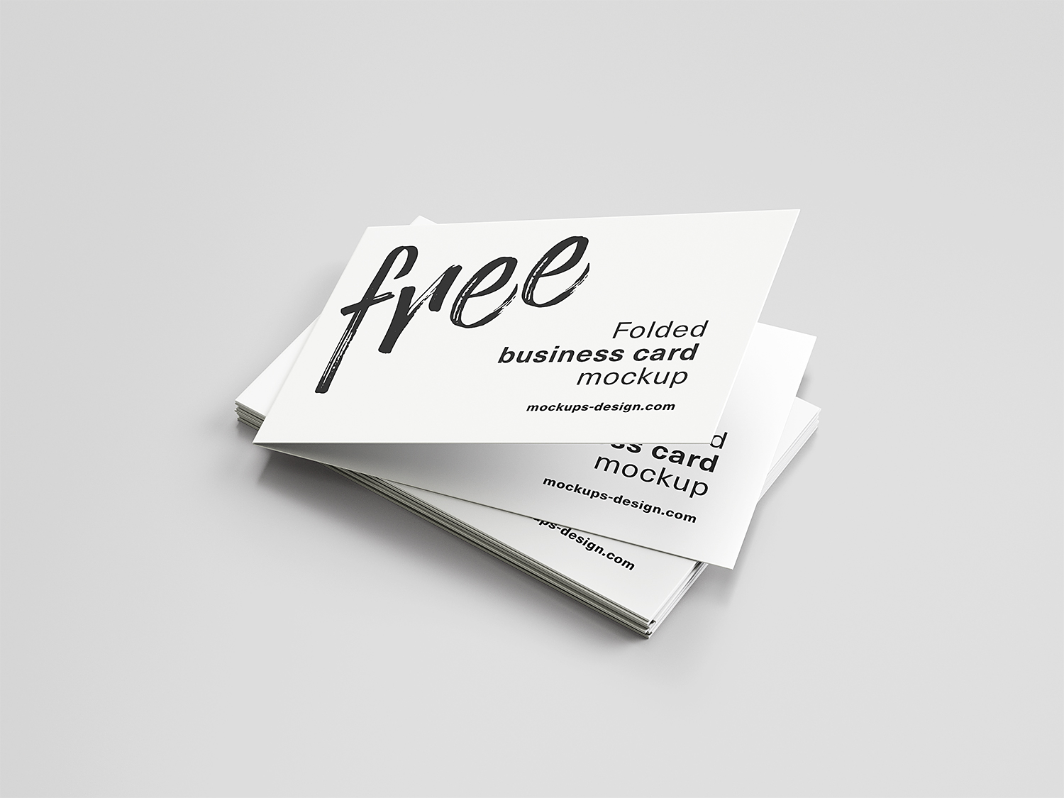 Free Folded Business Cards Mockup