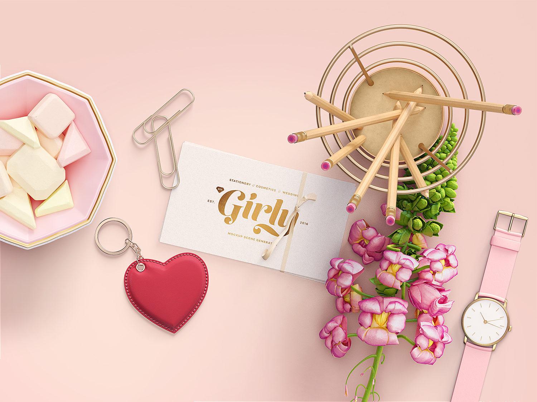 Free Girly Branding Mockup Scene Creator