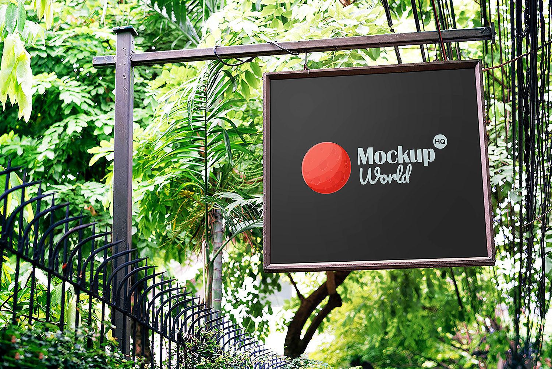 Free Hanging Signboard Mockup