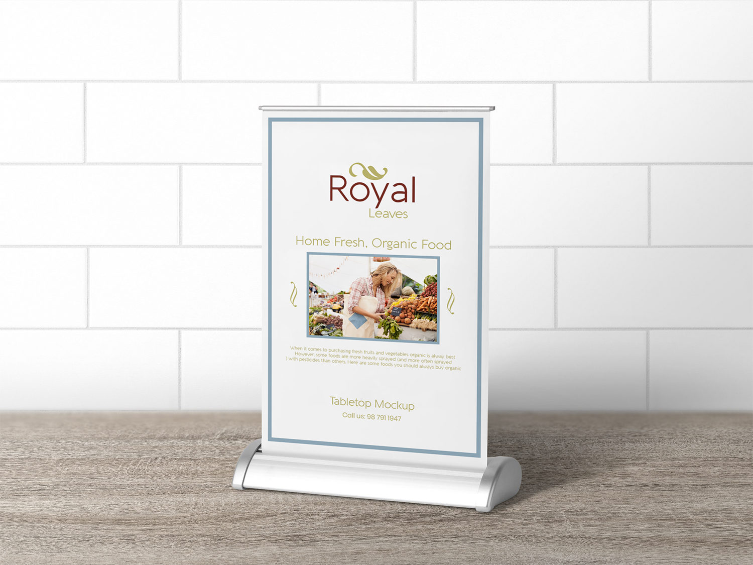 Free Retractable Tabletop Menu Mockup