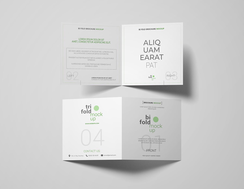 Free Square Bi-Fold Brochure Mockup