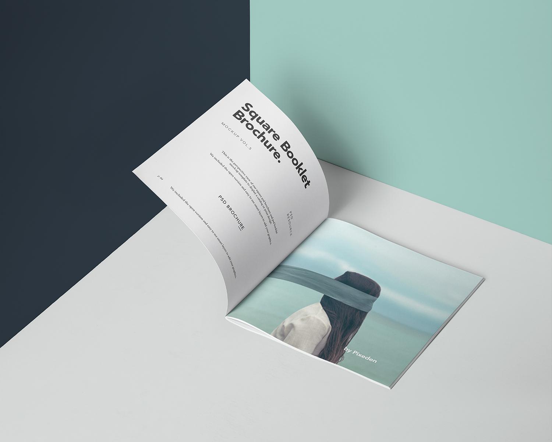 Free Square Brochure Mockup