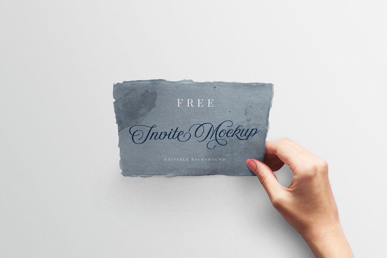 Free Wedding Invitation with Hand Mockup