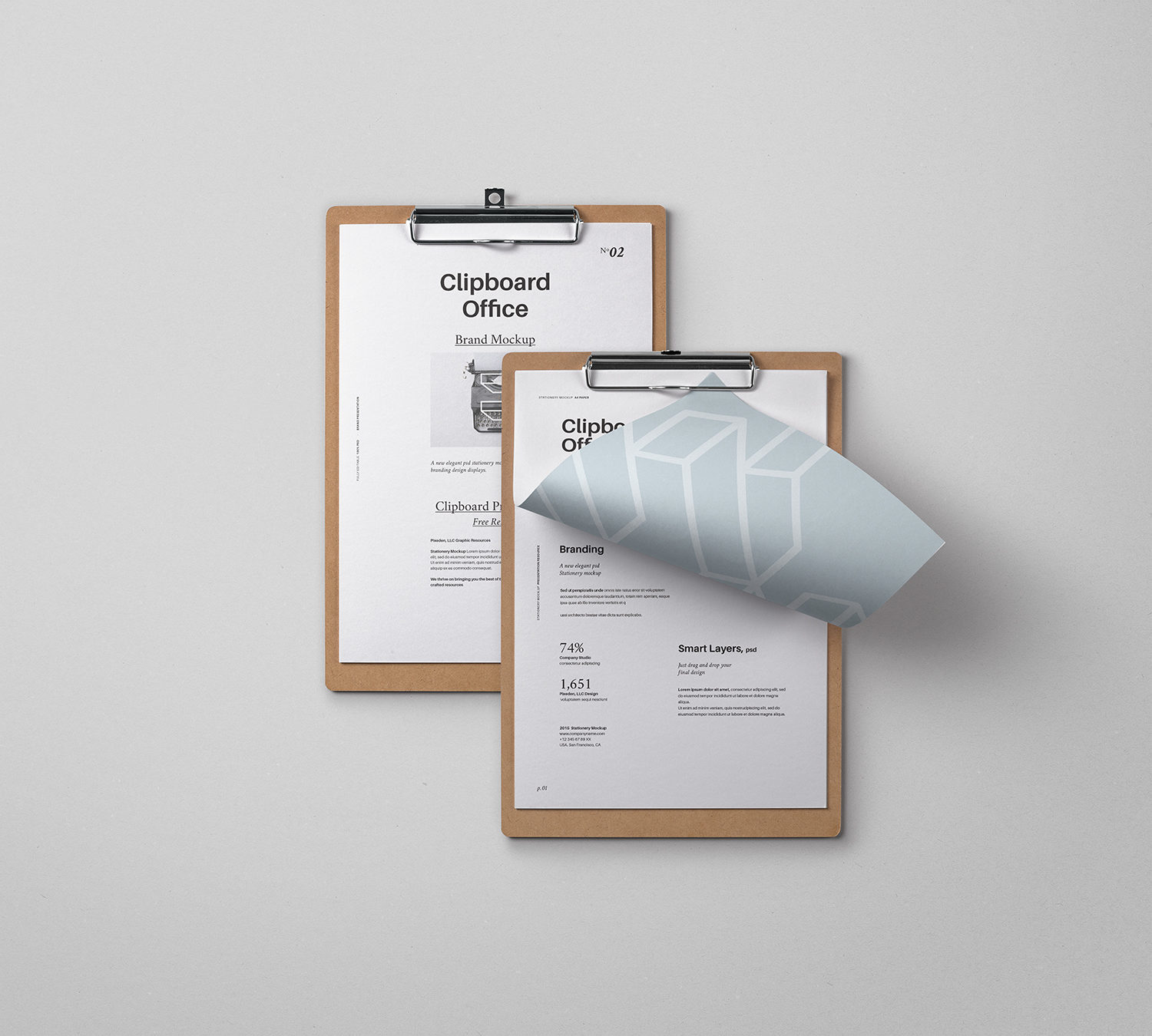 Free Clipboard Stationery Mockup