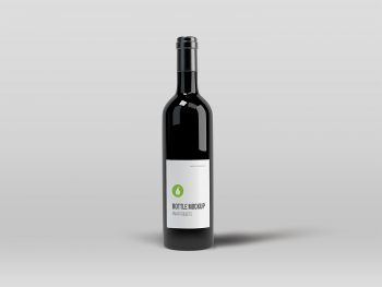 Free Black Elegant Wine Bottle Mockup