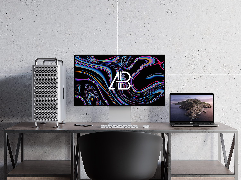 Free Mac Pro and MacBook Pro Mockup