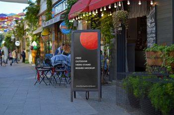 Free Outdoor Restaurant Menu Stand Board Mockup