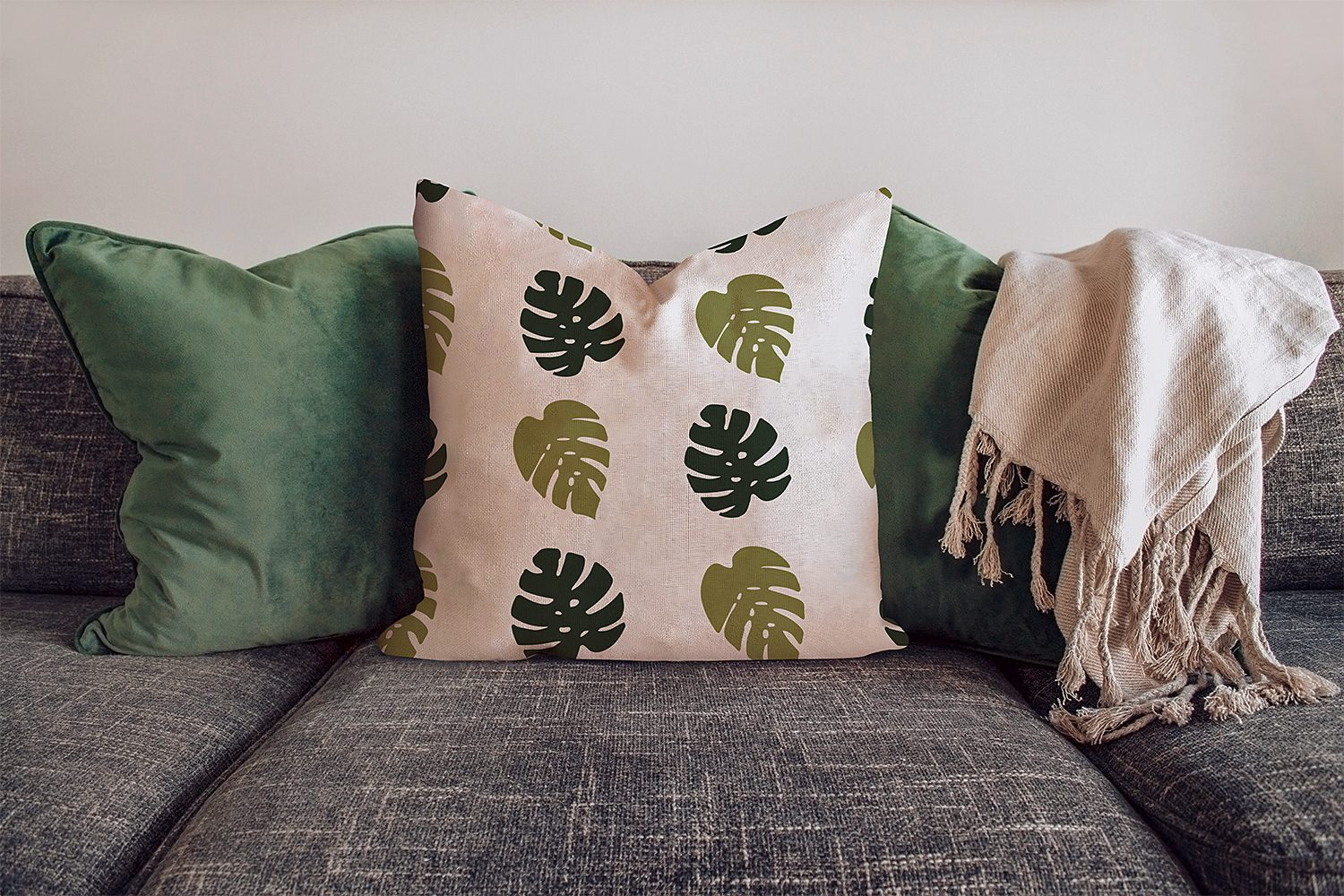 Free Pillow Mockup on the Sofa