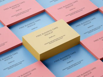 Free Stacked Business Cards Mockup